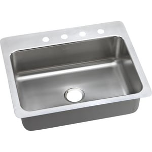 Elkay Lustertone™ Classic 1-Hole 1-Bowl Topmount and Undermount Kitchen Sink with Center Drain in Lustrous Highlighted Satin ELSR27221