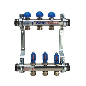Watts 1 x 1 x 1 x 1 in. Stainless Steel Flowmeter M-3 Manifold with Trunk Isolation Kit W81013280