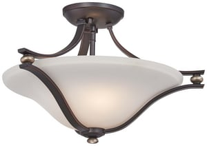 Minka-Lavery 100W 2-Light Semi-Flushmount Ceiling Fixture in Lathan Bronze and Gold Highlights M3282589