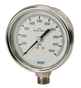 WIKA 4 in. 160 psi Stainless Steel Liquid Filled Gauge 1/2 in. MNPT W9832624