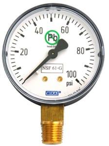WIKA Bourdon 2-1/2 in. 200 psi 1/4 in MNPT Pressure Gauge Lead Free W52571301 at Pollardwater