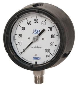 Wika Instrument XSEL™ 4-1/2 x 1/4 in. Lower Mount Pressure Gauge in Stainless Steel W9834 at Pollardwater