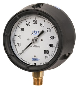 WIKA XSEL™ 4-1/2 in. 300 psi 1/4 in. MNPT Brass Lower Mount Pressure Gauge W9834176