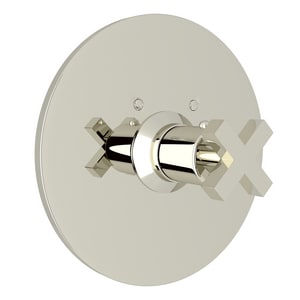 ROHL® Avanti Thermostatic Trim Plate with Single Cross Handle (Less Volume Control) in Polished Nickel RA4214XMPN
