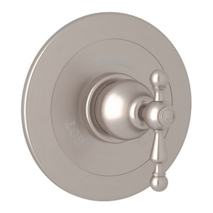ROHL® Arcana Wall Mount Pressure Balancing Trim Plate with Single Cross Handle with 3-Spoke for 1-595 and 1-685 Rough Valves in Satin Nickel RAC600LSTN