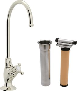 ROHL® Italian Country Kitchen 0.5 gpm 1-Hole Filter Faucet with Single Cross Handle and C-Spout in Polished Nickel RAKIT1635XMPN2