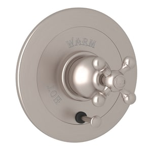 ROHL® Arcana Pressure Balancing Valve Trim with Single Cross Handle and Diverter in Satin Nickel RAC700XSTN