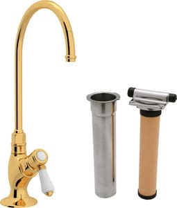 ROHL® Perrin & Rowe® Country Kitchen Kitchen Column Spout Filter Faucet with Single Lever Handle and 4-11/16 in. Spout Reach in Inca Brass RAKIT1635LPIB2