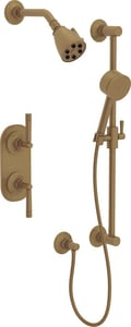 ROHL® Michael Berman Graceline™ Thermostatic Shower Package with Double Lever Handle in French Brass RMBKIT25LMFB
