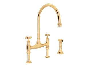 ROHL® Perrin & Rowe® Georgian Era Two Handle Bridge Kitchen Faucet in Unlacquered Brass RU4718XULB2