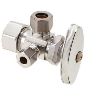 BrassCraft CR1900DV Series 1/2 in x 3/8 in x 1/4 in Knurled Handle Angle Supply Stop Valve in Polished Chrome BCR1900LXC1