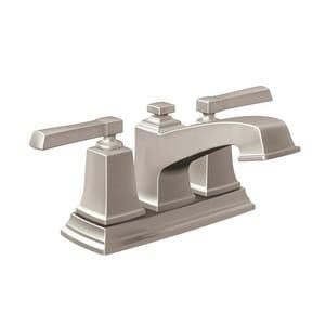 Moen Boardwalk™ Low Arc Bathroom Faucet with Double Lever Handle in Spot Resist Brushed Nickel MWS84800SRN