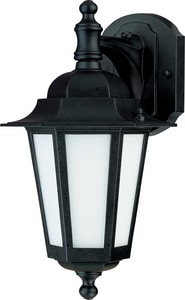 Nuvo Lighting Cornerstone 13 in 13W 1-Light Compact Fluorescent GU24 T2 Coil Outdoor Wall Lantern in Textured Black N602206