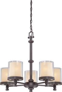 Nuvo Lighting Decker 25 in. 60W 5-Light Medium Incandescent Chandelier in Sudbury Bronze N604545