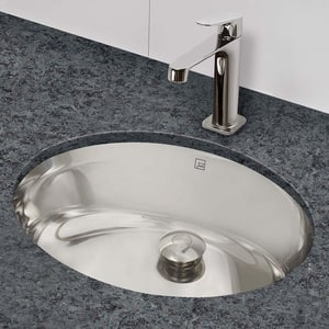 DECOLAV® Simply Stainless™ 19-1/4 x 16-1/4 in. Oval Stainless Steel Lavatory Brushed Stainless Steel D1300B