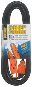 Prime Wire and Cable 15 ft. 3-Outlet Shop Cord in Black and Orange PEC890715