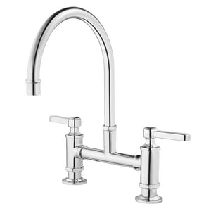 Pfister Port Haven™ 2-Hole Bridge Kitchen Faucet with Double Lever Handle in Polished Chrome PGT31TDC