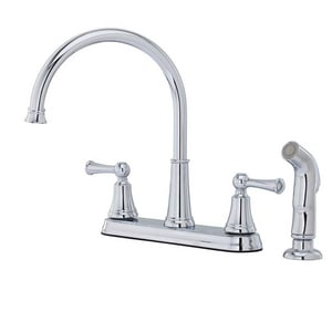 Pfister Bremerton™ 4-Hole Kitchen Faucet with Sidespray and Double Lever Handle in Polished Chrome PF0364SVC