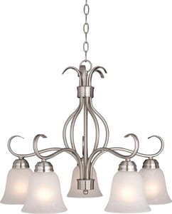 Maxim Lighting International Basix 100 W 5-Light Medium Chandelier with Ice Glass in Satin Nickel M10124ICSN