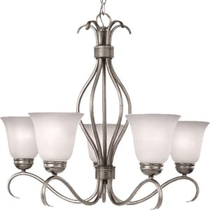 Maxim Lighting International Basix 22-1/2 in. 100 W 5-Light Medium Chandelier with Ice Glass in Satin Nickel M10125ICSN