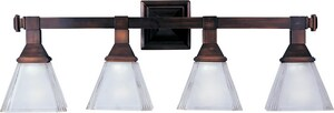 Maxim Lighting International Brentwood 28 in. 100W 4-Light Medium E-26 A19 Incandescent Vanity Fixture with Frosted Glass in Oil Rubbed Bronze M11079FTOI