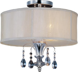 Maxim Lighting International Montgomery 15 in. 3-Light Semi-Flushmount Ceiling Fixture in Polished Nickel with Clear Glass Shade M24301CLBSPN