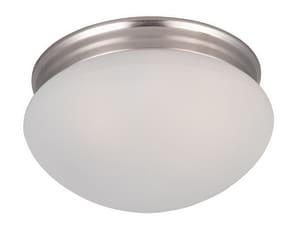 Maxim Lighting International Essentials 60W 2-Light Medium E-26 Base Incandescent Flushmount Ceiling Fixture in Satin Nickel M5885FTSN