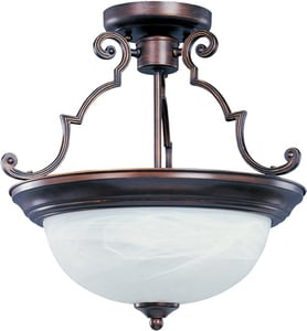 Maxim Lighting International Signature 14 in. 3-Light Semi-Flushmount Ceiling Fixture in Oil Rubbed Bronze with Marble Glass Shade M5844MROI
