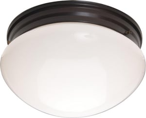 Maxim Lighting International 9 in. 2-Light Flushmount in Oil Rubbed Bronze with White Glass Shade M5881WTOI