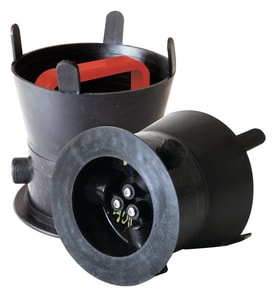 SW Services Debris Caps™ 5 to 5-1/2 in. Debris Cap with Red Handle and Locking Bracket SDC455RDLD4 at Pollardwater