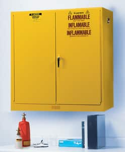 Justrite Sure-Grip® EX Wall Mount Safety Cabinet Yellow 20 gal Manual Close JUS893400 at Pollardwater