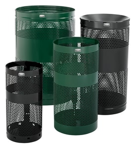 Rubbermaid Towne Series 34 gal Freestanding Waste Container with Security Chain Hole in Empire Green RFGH3EGN