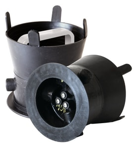 SW Services Debris Caps™ 6 to 6-1/4 in. Cap with Handle and Locking Bracket in Black and White SDC456WHLD4 at Pollardwater