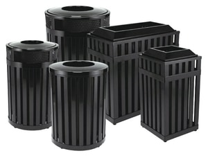 Rubbermaid Avenue® 32 gal Round Open-Top with Plastic Liner in Black RFGMH32PLBK