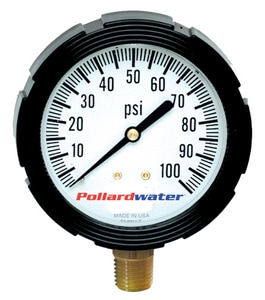 Thuemling Industrial Products Bourdon 3-1/2 in. 100 psi Liquid Filled Pressure Gauge MNPT T6106985 at Pollardwater
