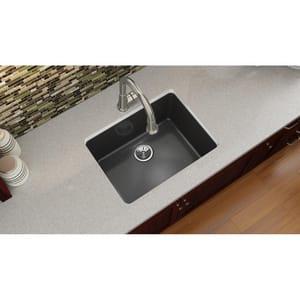 Elkay Quartz Luxe® 24-5/8 x 18-1/2 in. Composite Single Bowl Undermount Kitchen Sink in Caviar EELXU2522CA0