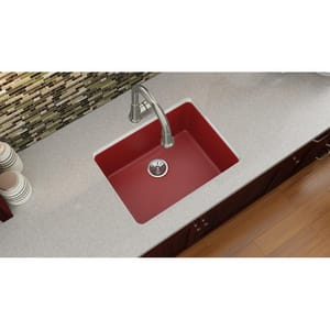 Elkay Quartz Luxe® 24-5/8 x 18-1/2 in. No Hole Composite Single Bowl Undermount Kitchen Sink in Maraschino EELXU2522MA0