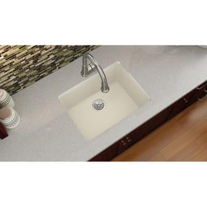Elkay Quartz Luxe® 24-5/8 x 18-1/2 in. 1-Bowl Undermount Composite Kitchen Sink with Rear Center Drain in Parchment EELXU2522PA0