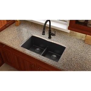 Elkay Quartz Luxe® 33 x 19 in. 2-Bowl Undermount Composite Kitchen Sink with Rear Center Drain in Caviar EELXDULB3322CA0