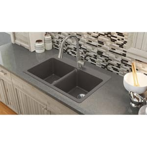 Elkay Quartz Luxe® 33 x 22 in. No Hole Composite Double Bowl Drop-in Kitchen Sink in Chestnut EELX3322CN0