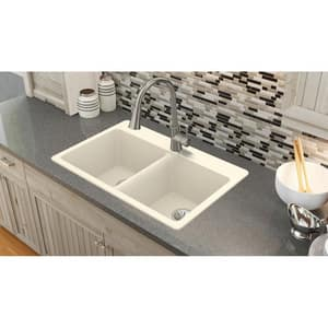Elkay Quartz Luxe® 33 x 22 in. No Hole Composite Double Bowl Drop-in Kitchen Sink in Parchment EELX3322PA0