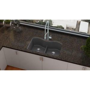Elkay Quartz Luxe® 33 x 20 in. Composite Double Bowl Undermount Kitchen Sink in Charcoal EELXULB3322CH0