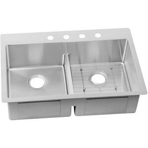 Elkay Crosstown® 33 x 22 in. 4 Hole Stainless Steel Double Bowl Dual Mount Kitchen Sink EECTSRA33229BG4