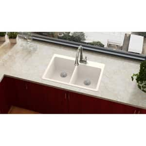Elkay Quartz Luxe® 33 x 22 in. No Hole Composite Double Bowl Drop-in Kitchen Sink in Ricotta EELX250RRT0
