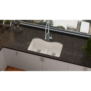 Elkay Quartz Luxe® 33 x 20 in. 2-Bowl Undermount Composite Kitchen Sink with Rear Center Drain in Ricotta EELXULB3322RT0