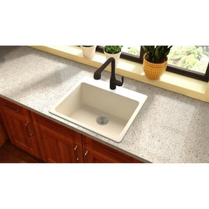 Elkay Quartz Luxe® 25 x 22 in. 1-Bowl Self-rimming or Drop-in Composite Kitchen Sink with Rear Center Drain in Parchment EELX2522PA0