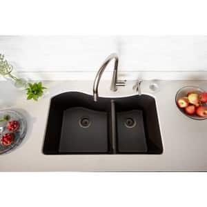 Elkay Quartz Luxe® 32-1/2 x 20 in. 2-Bowl Undermount Composite Kitchen Sink with Rear Center Drain in Charcoal EELXHU3220RCH0
