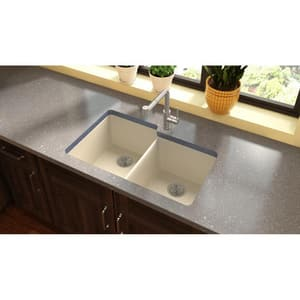 Elkay Quartz Luxe® 2-Bowl Undermount Kitchen Sink in Parchment EELXU250RPA0