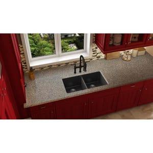 Elkay Quartz Luxe® 33 x 18-1/2 in. No Hole Composite Double Bowl Undermount Kitchen Sink in Caviar EELXU3322CA0