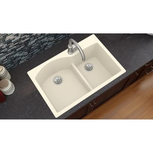 Elkay Quartz Luxe® 33 x 22 in. No-Hole 2-Bowl Self-rimming or Drop-in Composite Kitchen Sink with Rear Center Drain in Parchment EELXH3322RPA0